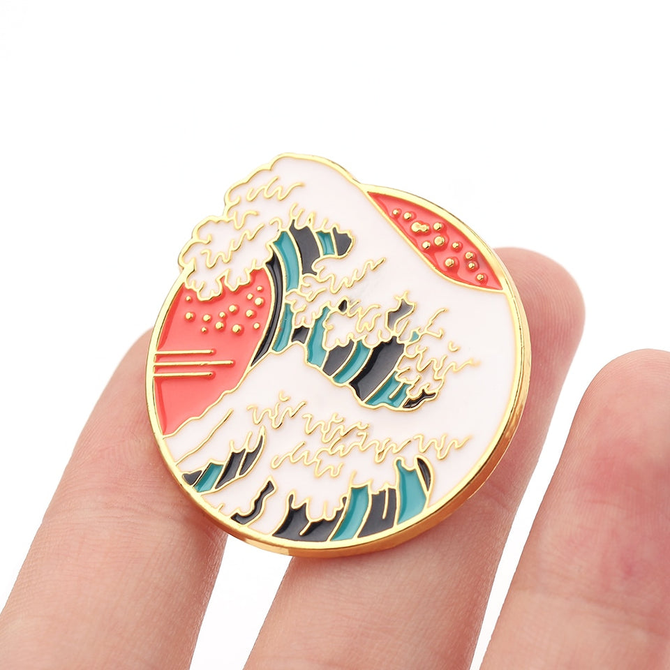 The great wave off Kanagawa pin brooch