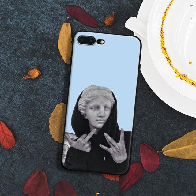 Spoof personality statue iphone case
