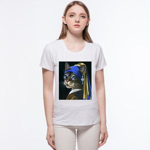 Girl with a Pearl Earring cat Tshirt