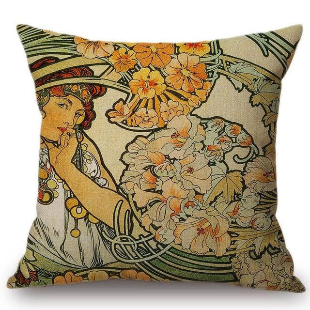 Alphonse Mucha Illustrations pillow