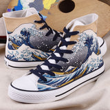 High-Top Hokusai Wave Hand painted shoes