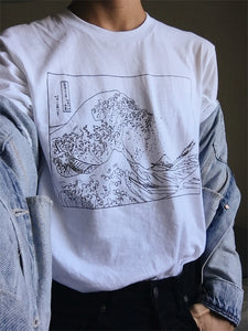 Hokusai Wave Line art T-shirt