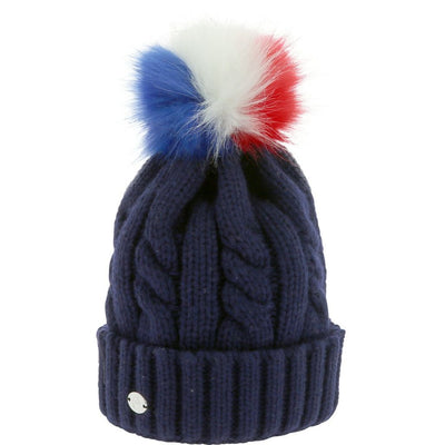 Beanie Equi-Theme Cable Knit Tricolour Pom-pom