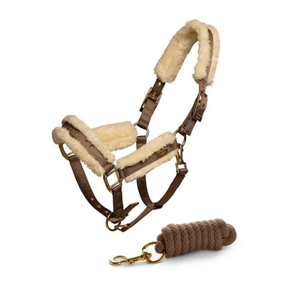 Equestrian Stockholm Fur lined Halter and Lead Champagne COB