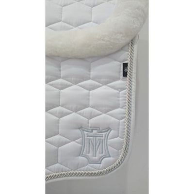 Mattes Dressage Saddle Pad White Sheen with Silver/Pearl Binding FULL