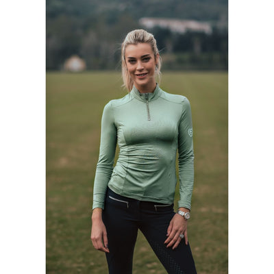Equestrian Stockholm UV Protection Long Sleeved Top PISTACHIO