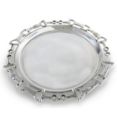 Equestrian Round Tray with Horse Bit Detail