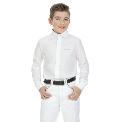 Equi-Theme Mens White Cotton Long Sleeved Competition Shirt