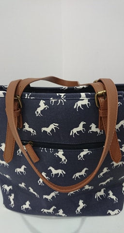 Tote Bag with Front Pocket with Horses design