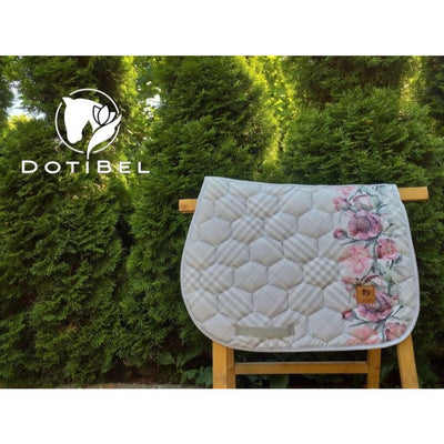 Dotibel Bella Satin Dressage Saddle Pad Grey-Pink