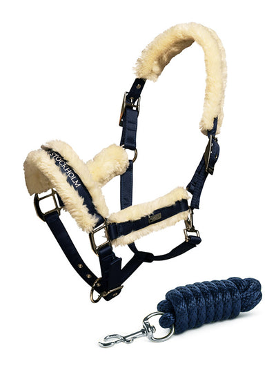 Equestrian Stockholm Fur lined Halter and Lead Navy