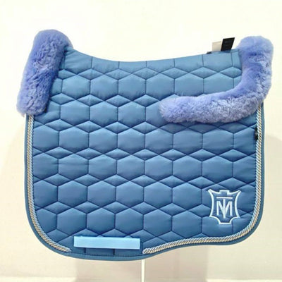 Mattes Eurofit Dressage Saddle Pad Cornet Blue with Light Blue Sheepskin