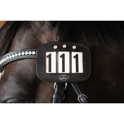 Hamag Leather Crystal Bridle Number Holder BLACK 3 NUMBER