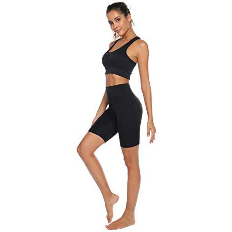 AUU High Waist Out Pocket Yoga Short Tummy Control Workout Running 4 Way Stretch - dilutee.com
