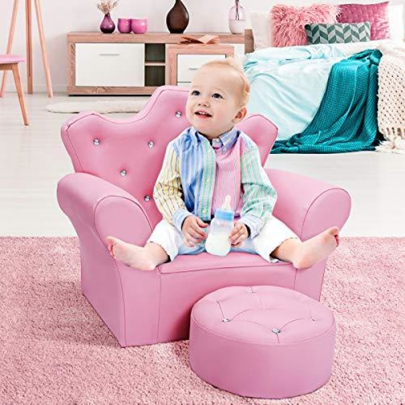 Costzon Kids Sofa PVC Leather Princess Sofa with Embedded Crystal Upholstered Armchair with Ottoman Perfect for Girls (Pink/Sofa with