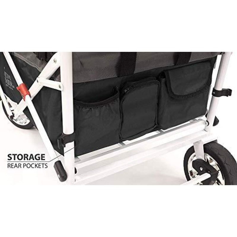 Creative Outdoor Distributor Push Pull Wagon for Kids Foldable with Sun/Rain (Black) - dilutee.com