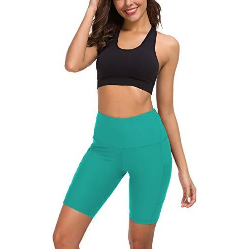 Custer's Night High Waist Out Pocket Yoga Short Tummy Control Workout Running 4 Way Stretch Yoga Leggings (Teal XL) - dilutee.com