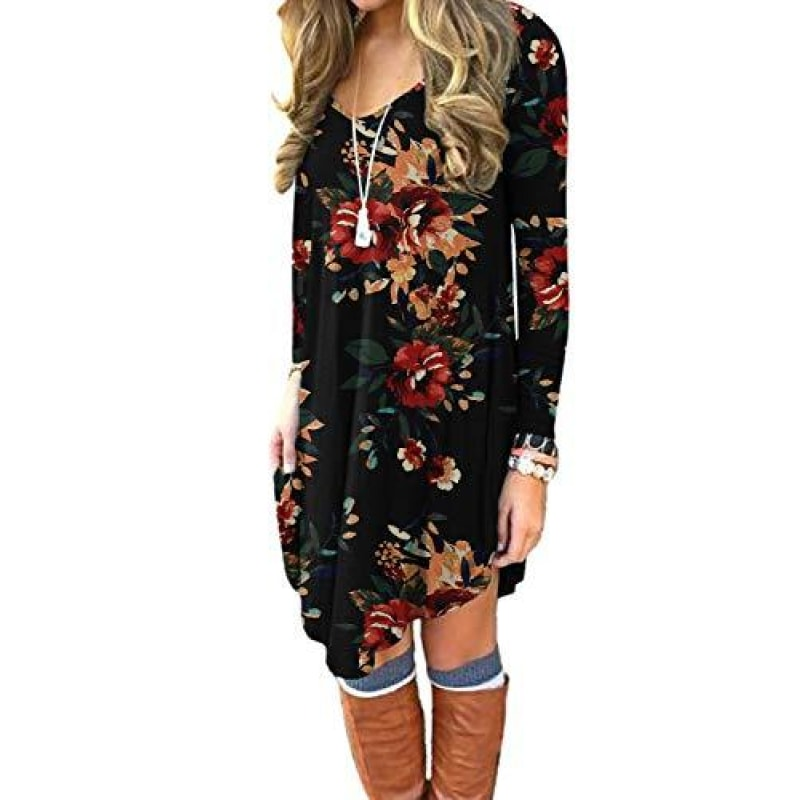DEARCASE Women's Long Sleeve Casual Loose T_Shirt Dress Brown Floral Black Small - dilutee.com