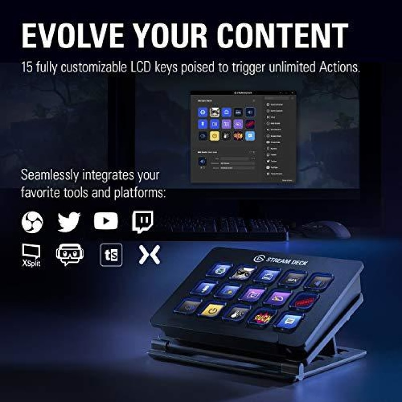 Elgato Stream Deck - Live Content Creation Controller with 15 Customizable LCD Keys Adjustable Stand for Windows 10 and macOS 10.11 or later