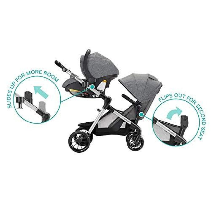 Evenflo Pivot Xpand Single-to-Double Convertible Baby Stroller with Compact Folding design Percheron Gray - dilutee.com