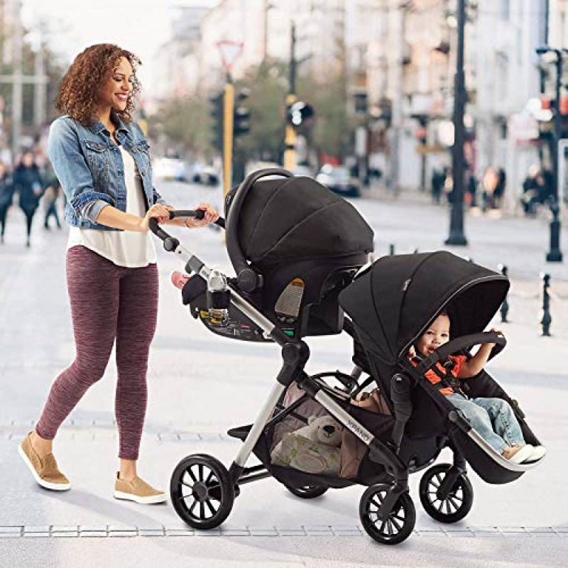 Evenflo Pivot Xpand Single-to-Double Convertible Baby Stroller with Compact Folding design Stallion Black - dilutee.com