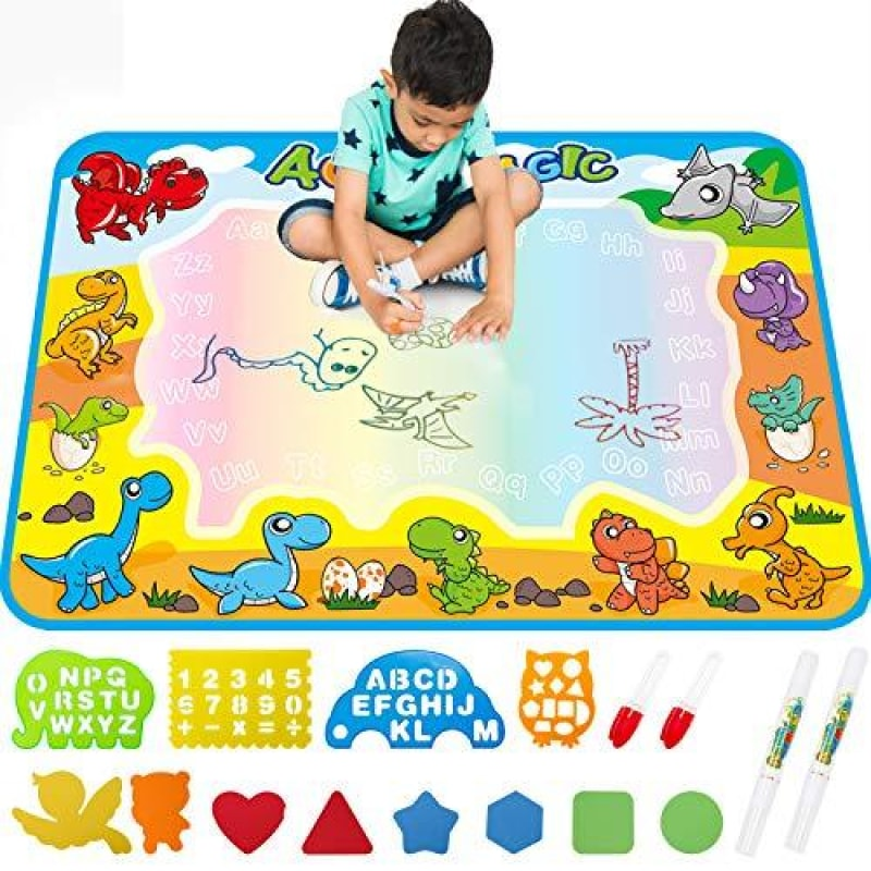 FREE TO FLY Large Aqua Drawing Mat for Kids Water Painting Writing Doodle Board Toy Color Aqua Magic Mat Bring Magic Pens Educational Travel