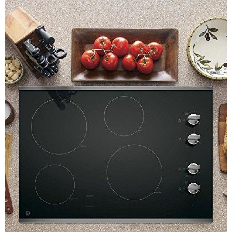 GE JP3030SJSS 30 Inch Smoothtop Electric Cooktop with 4 Radiant Elements Knob Controls Keep Warm Melt Setting - dilutee.com