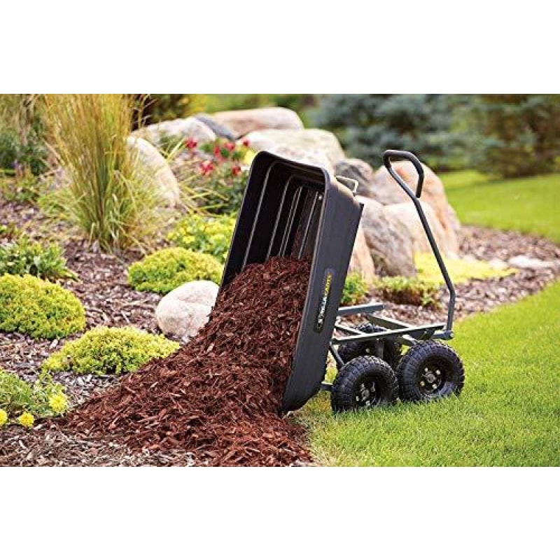 Gorilla Carts GOR4PS Poly Garden Dump Cart with Steel Frame and 10-in. Pneumatic Tires 600-Pound Capacity Black - dilutee.com