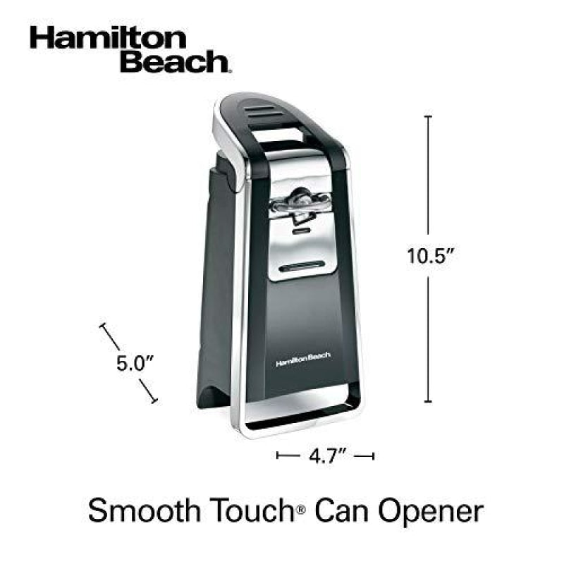 Hamilton Beach (76606ZA) Smooth Touch Electric Automatic Can Opener with Easy Push Down Lever Opens All Standard-Size and Pop-Top Cans,Extra