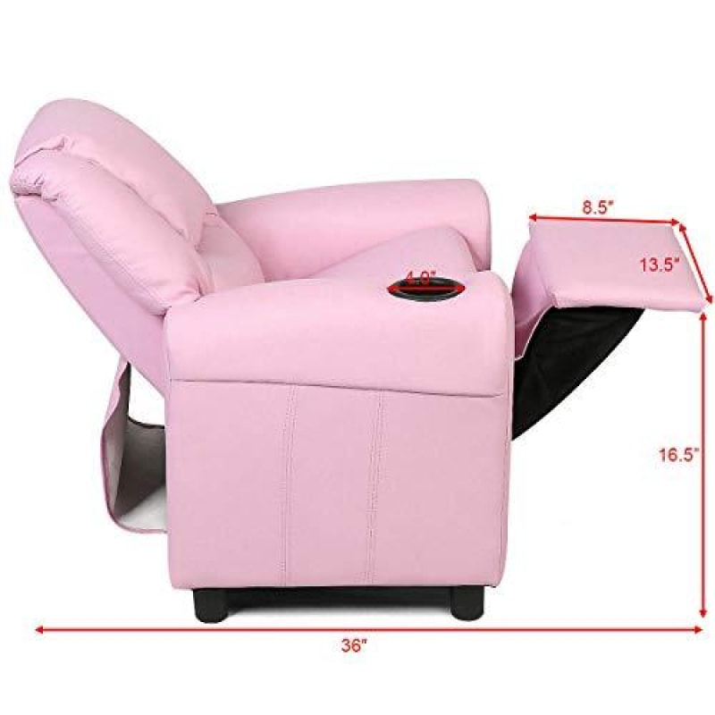 HONEY JOY Kids Recliner Chair PU Leather Armchair with Holder and Headrest Lounge Furniture for Boys and Girls Sturdy Wood Frame Sofa Chair