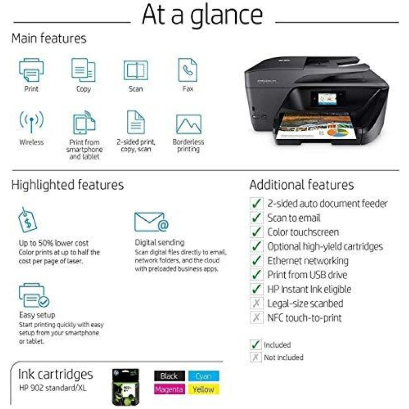 HP OfficeJet Pro 6978 All-in-One Wireless Printer HP Instant Ink or Amazon Dash replenishment ready (T0F29A) - dilutee.com