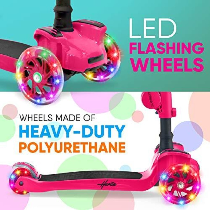 Hurtle 3-Wheeled Scooter for Kids - Wheel LED Lights Adjustable Lean-to-Steer Handlebar and Foldable Seat - Sit or Stand Ride with Brake for