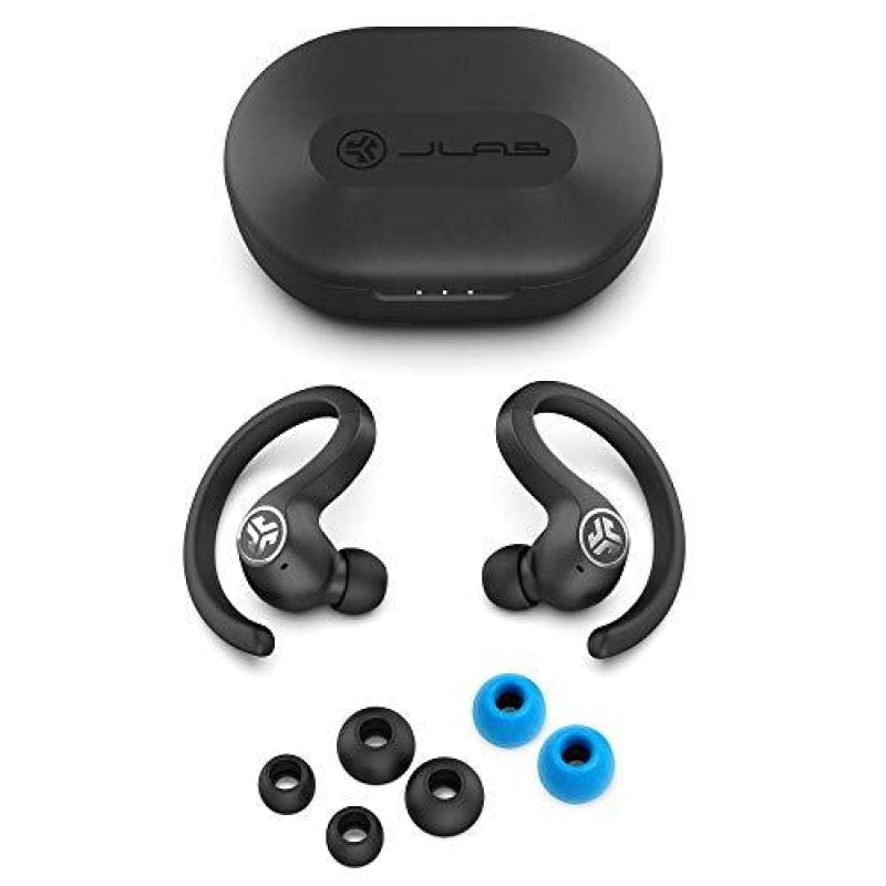 JLab Audio JBuds Air Sport True Wireless Bluetooth Earbuds + Charging Case - Black - IP66 Sweat Resistance - Class 1 Bluetooth 5.0