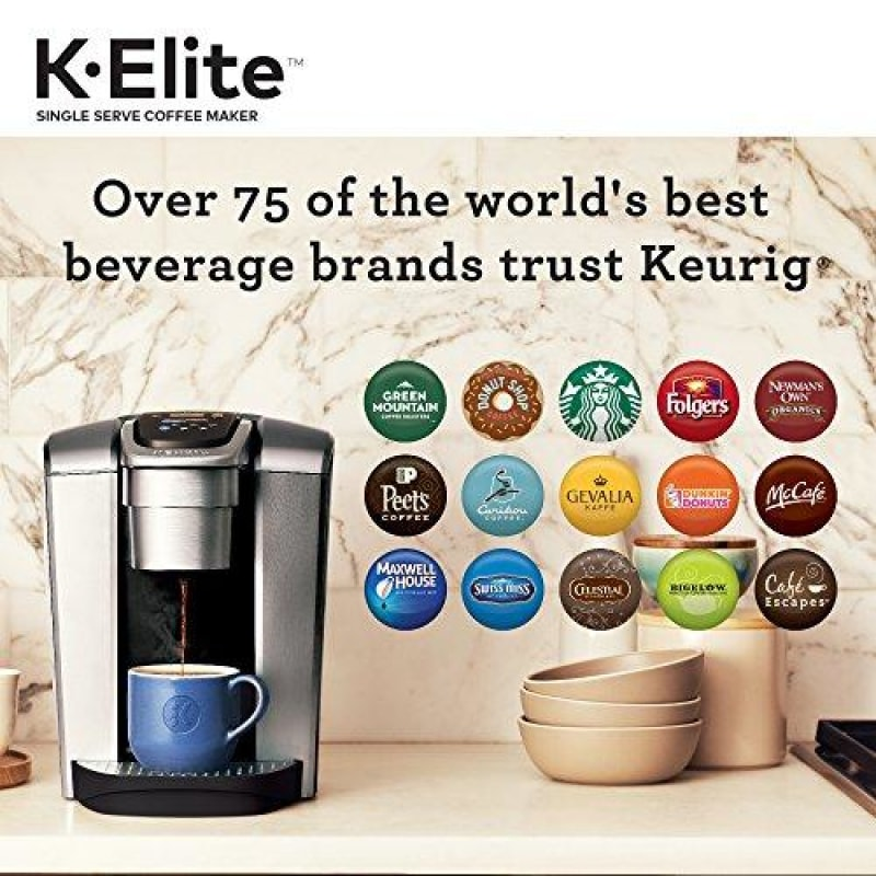 Keurig K-Elite Coffee Maker Single Serve K-Cup Pod Coffee Brewer With Iced Coffee Capability Brushed Silver - dilutee.com