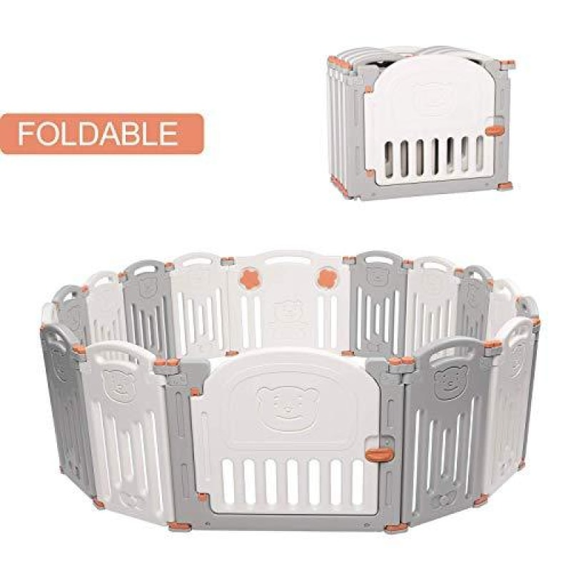 Kidsclub Baby 16 Panel Playpen Activity Centre Safety Play Yard Foldable Portable HDPE Indoor Outdoor Playards Fence - dilutee.com