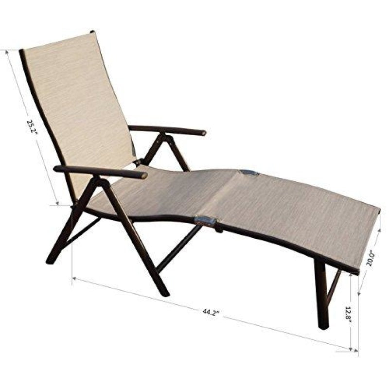Kozyard Cozy Aluminum Beach Yard Pool Folding Reclining 7 Adjustable Chaise Lounge Chair (2 Pack Beige) - dilutee.com