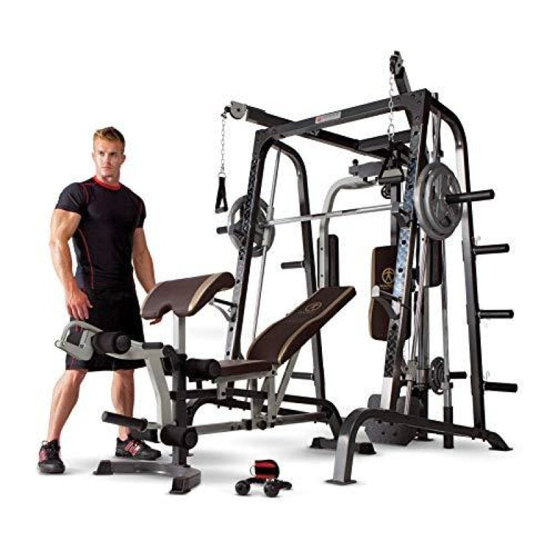 Marcy Smith Cage Workout Machine Total Body Training Home Gym System with Linear Bearing Md-9010G Silver (MD-9010) - dilutee.com