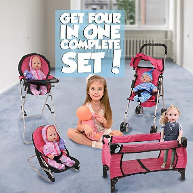 Mommy & Me Doll Collection 4 In 1 Baby Doll Accessories Mega Deluxe Playset with Doll Stroller Doll High Chair Doll Bouncer and Doll Pack N
