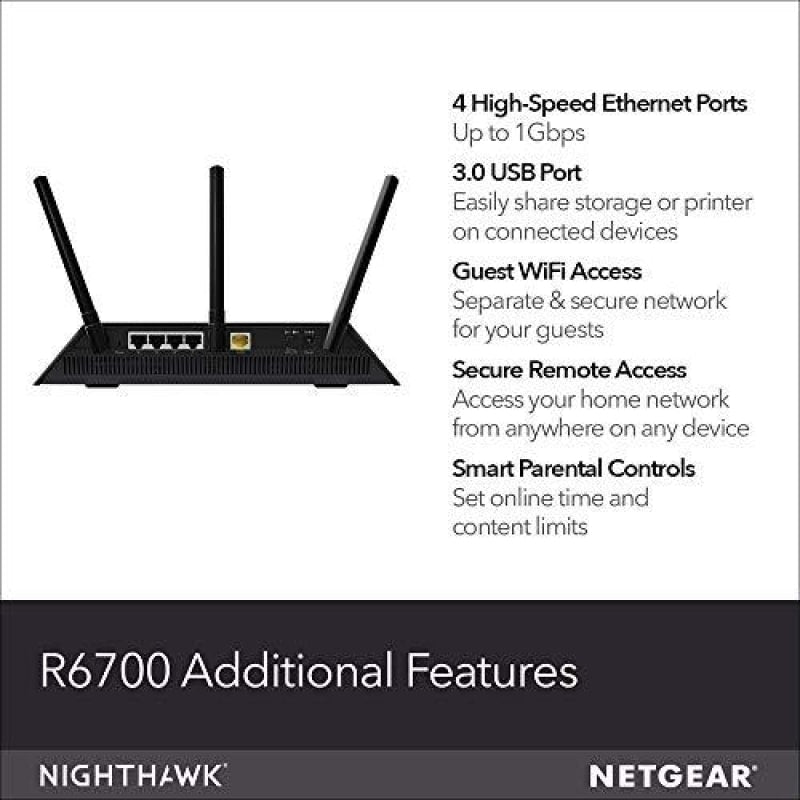 NETGEAR Nighthawk Smart WiFi Router (R6700) - AC1750 Wireless Speed (up to 1750 Mbps) | Up to 1500 sq ft Coverage & 25 Devices | 4 x 1G