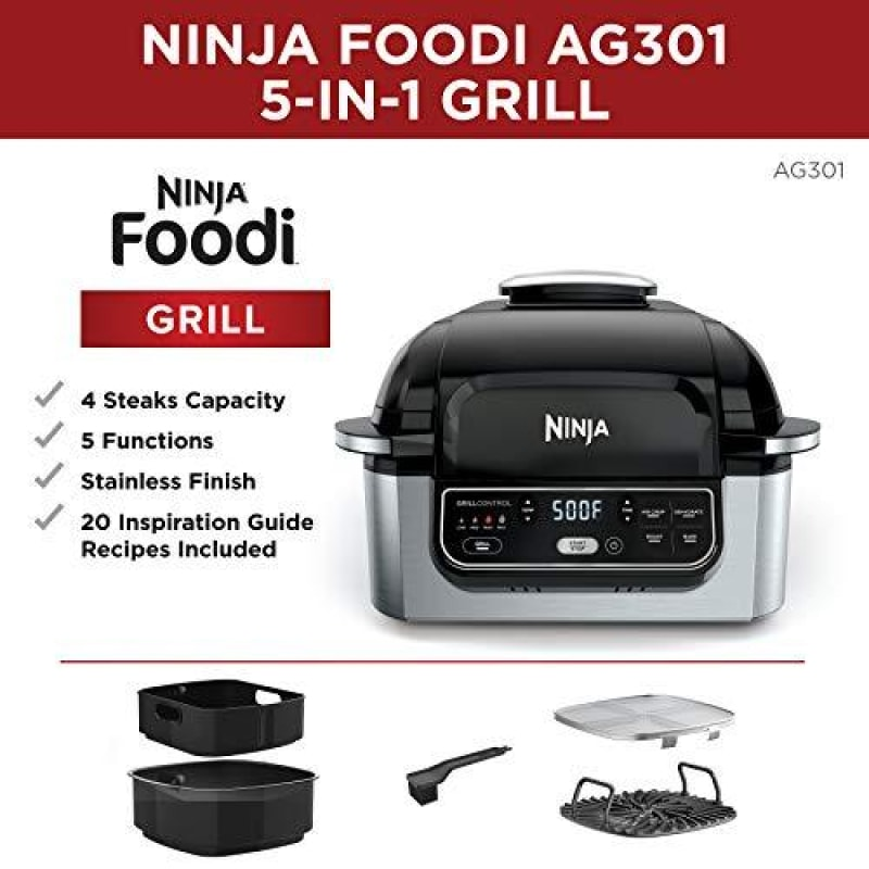 Ninja Foodi 5-in-1 4-qt. Air Fryer Roast Bake Dehydrate Indoor Electric Grill (AG301) 10 x 10 Black and Silver - dilutee.com