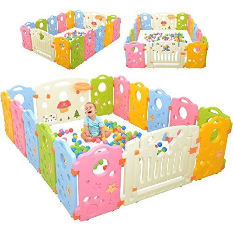Playpen Activity Center for Babies and Kids - Multicolor 16-Panel Set Play Yard - dilutee.com