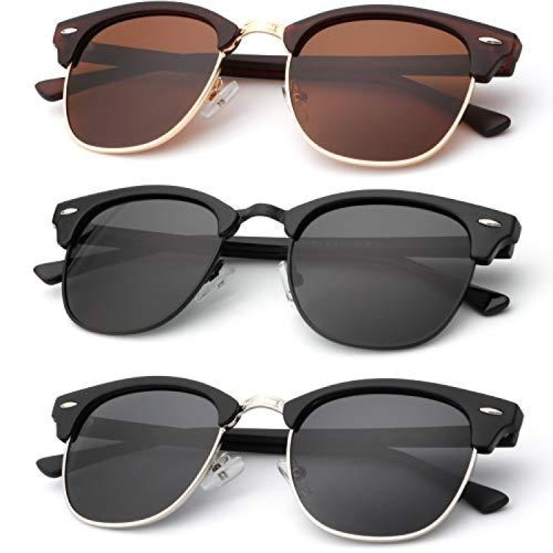 Polarized Sunglasses for Men and Women Semi-Rimless Frame Driving Sun glasses 100% UV Blocking - dilutee.com
