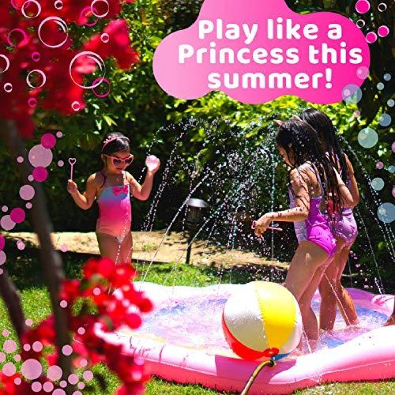 PRINCESSEA Splash Pad for Girls XL 78 Outdoor Mermaid Children's Water Pad Wading Pool & Sprinkler for Kids - Inflatable Kiddie Swimming