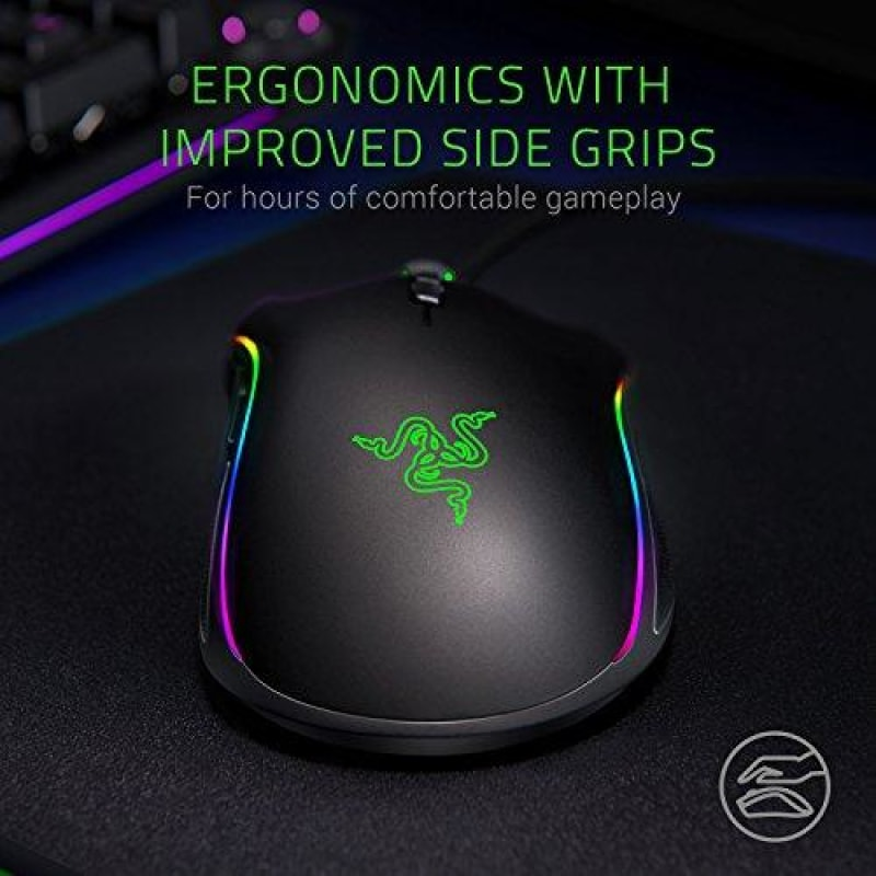 Razer Mamba Elite Wired Gaming Mouse: 16,000 DPI Optical Sensor - Chroma RGB Lighting - 9 Programmable Buttons - Mechanical Switches -