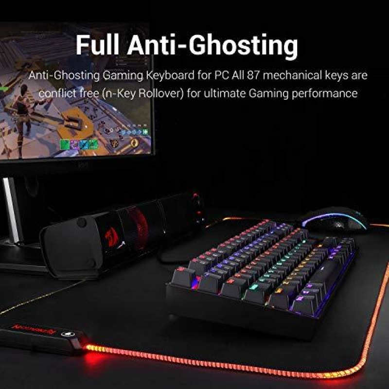 Redragon K552 Mechanical Gaming Keyboard RGB LED Rainbow Backlit Wired Keyboard with Red Switches for Windows Gaming PC (87 Keys Black) -