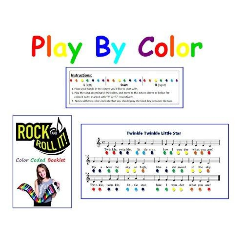 Rock And Roll It - Rainbow Piano. Flexible Completely Portable 49 standard Keys battery OR USB powered. Includes play-by-color song book! -