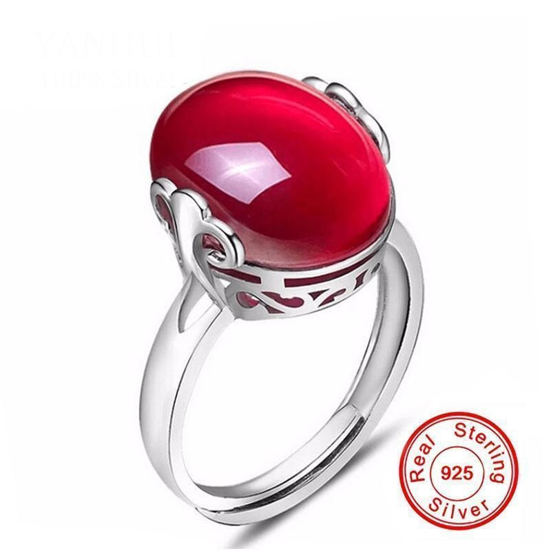 Ruby Ring & Necklace Set - 925 Solid Silver - dilutee.com