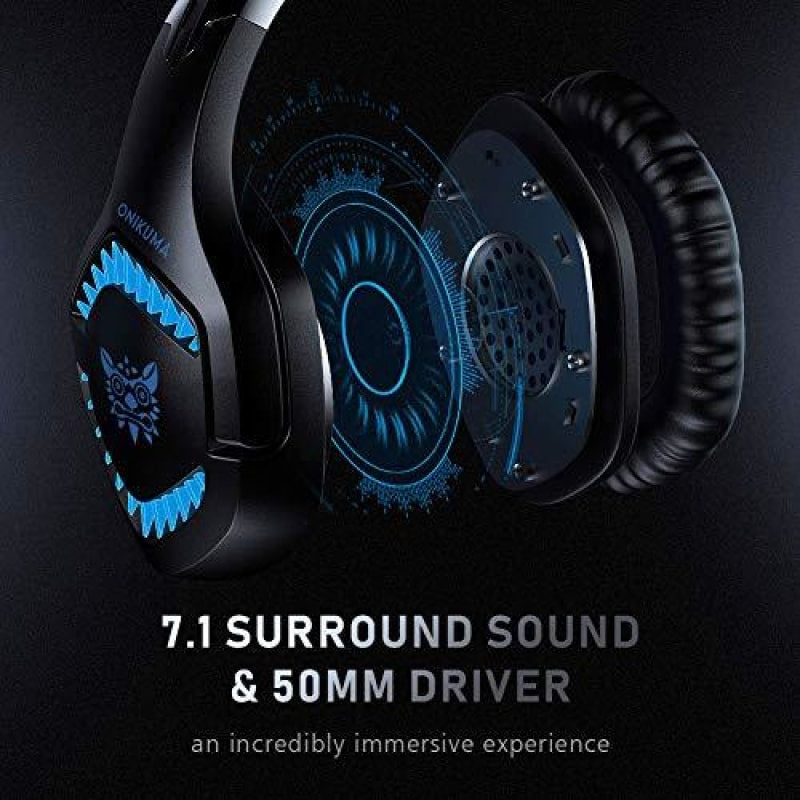RUNMUS Gaming Headset Xbox One Headset with 7.1 Surround Sound PS4 Headset with Noise Canceling Mic & LED Light Compatible with PC PS4 Wired
