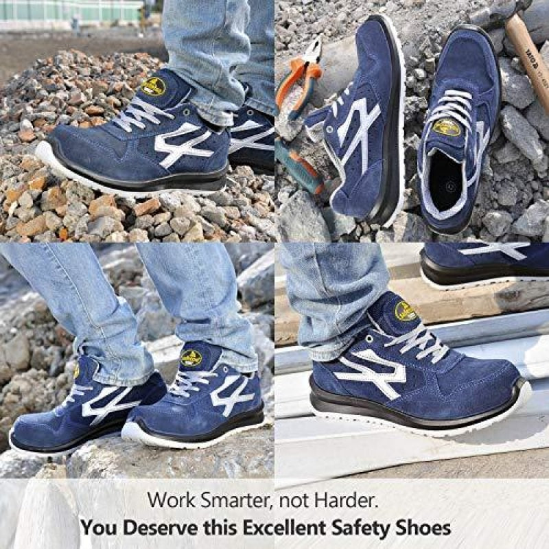 SAFETOE Men's Safety Shoes,Lightweight Sport Composite Toe Work Shoes Blue - dilutee.com