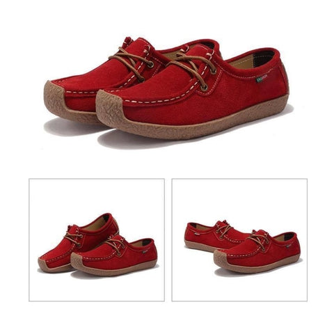 Scarlet Leather Flat Shoes - dilutee.com